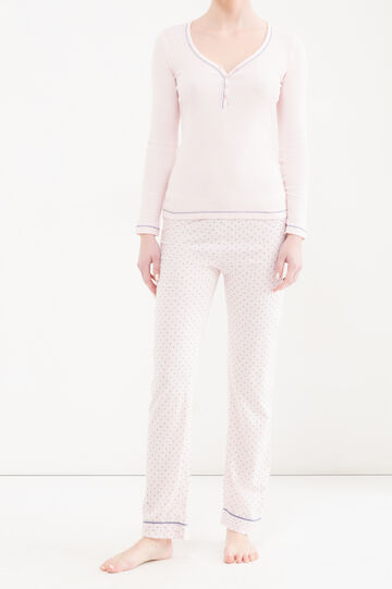 V-neck pyjama top, Pink, hi-res