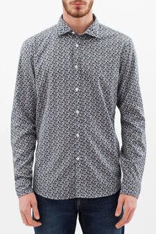 Slim fit patterned cotton shirt, Blue/Grey, hi-res