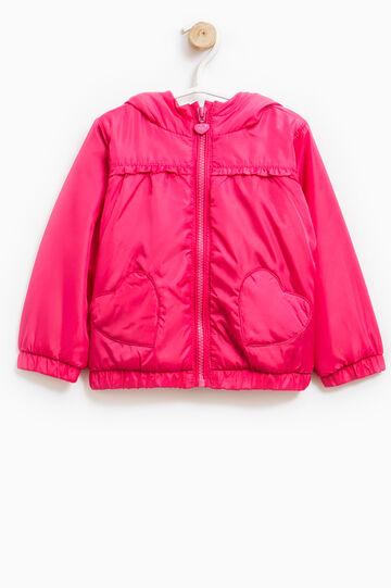 Jacket with hood and flounces, Fuchsia, hi-res