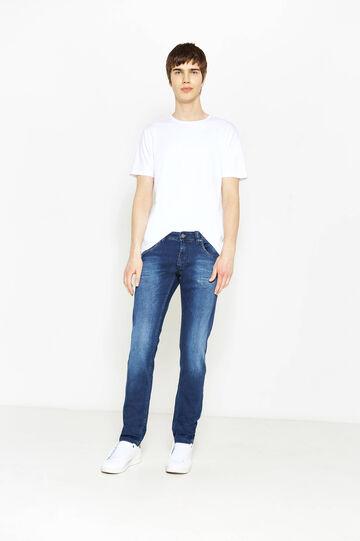 Slim-fit worn-effect stretch jeans, Dark Wash, hi-res