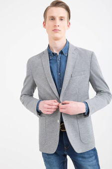 Cotton blend patterned jacket, Light Grey, hi-res