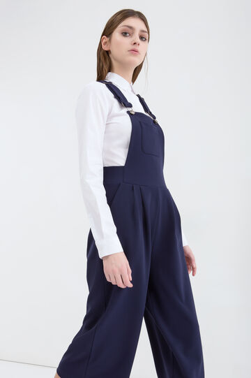 Stretch, wide-leg dungarees, Navy Blue, hi-res