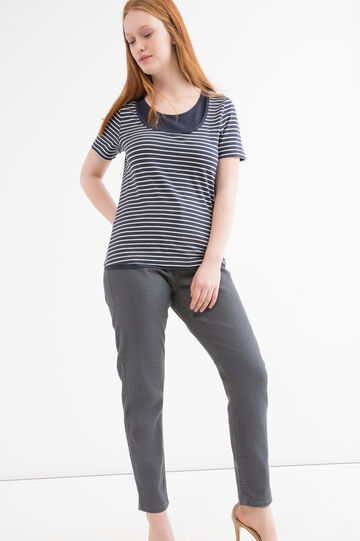 Curvy striped cotton T-shirt, White, hi-res
