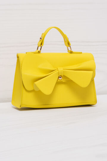 Solid colour, leather look bag, Yellow, hi-res
