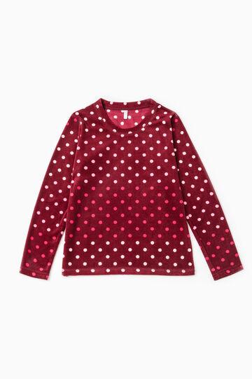 Maglia pigiama in pile a pois, Rosso bordeaux, hi-res