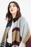 Patterned poncho knitted with fringe, Black/Grey, hi-res