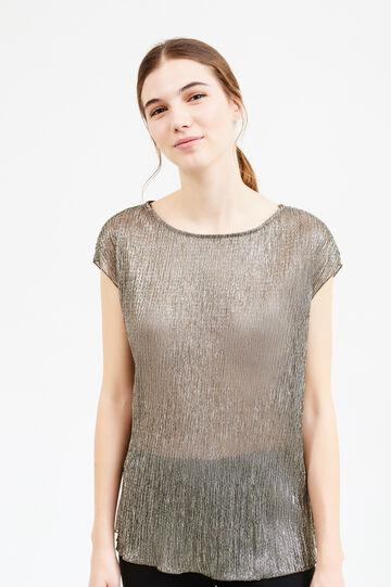 Semi-sheer solid colour blouse, Platinum, hi-res