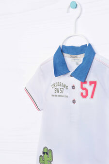 Printed polo shirt in 100% cotton, Cream White, hi-res