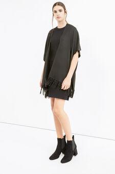 Cape with shawl neck and fringe, Black, hi-res