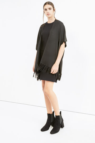 Cape with shawl neck and fringe, Black, hi-res