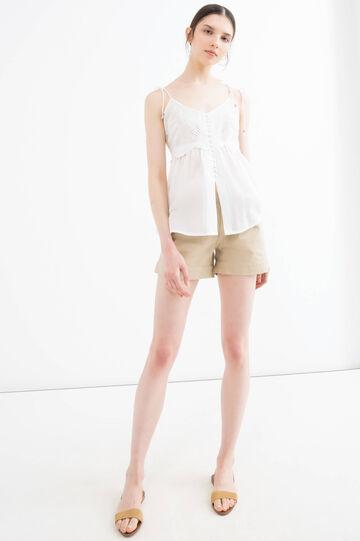 Solid colour 100% cotton shorts, Sand, hi-res