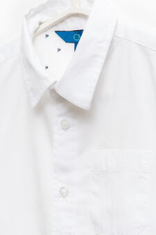 100% cotton shirt with pocket, Optical White, hi-res
