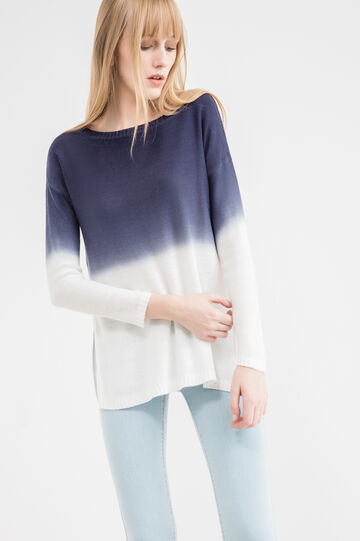 Two-tone knitted pullover with splits, White/Blue, hi-res