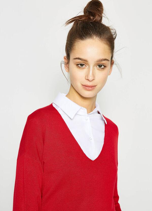 V-neck pullover with ribbing | OVS