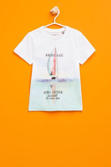 Camiseta en algodón 100% con estampado grande, Blanco óptico, hi-res