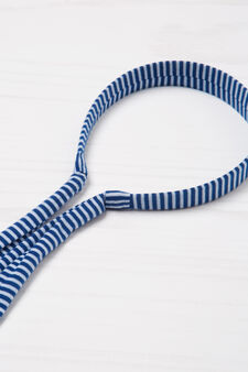Patterned hairband with laces, White/Blue, hi-res