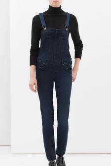 Salopette jeans stretch, Blu scuro, hi-res
