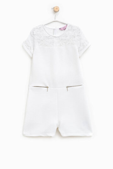Stretch onesie with lace and pockets