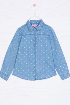 Camicia di jeans fantasia a pois, Lavaggio chiaro, hi-res