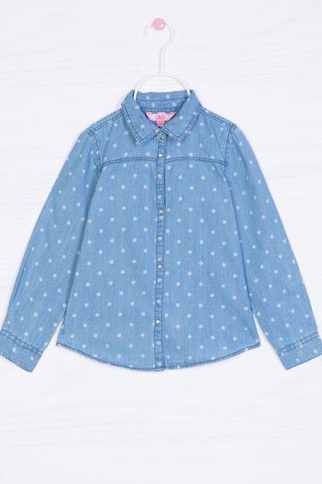 Polka dot denim shirt, Light Wash, hi-res