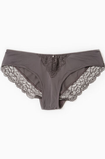 Stretch briefs with diamanté and lace, Grey, hi-res