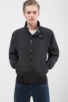 Solid colour jacket with high neck., Black, hi-res