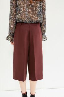 Pantaloni modello gaucho con cintura, Rosso bordeaux, hi-res