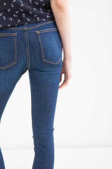 Stretch jeans with rips, Denim Blue, hi-res