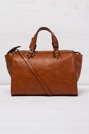 Leather look bag with adjustable strap., Leather Brown, hi-res