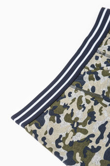 Three-pack solid colour and camouflage stretch boxer shorts, Olive Green, hi-res