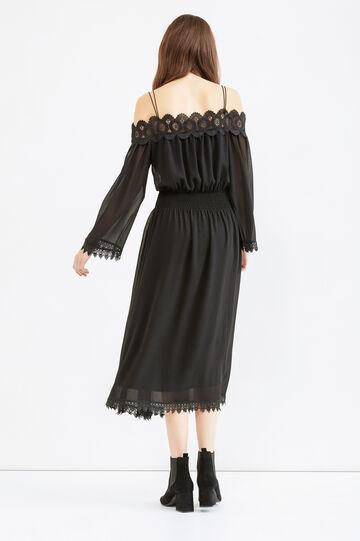 Long dress with double shoulder straps, Black, hi-res