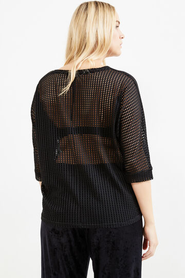 Solid colour stretch T-shirt, Black, hi-res