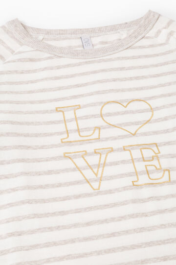Striped cotton blend pyjamas, Beige, hi-res