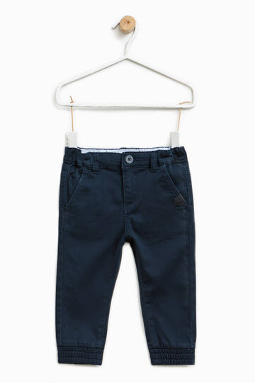 Pantaloni in cotone stretch con patch, Blu navy, hi-res