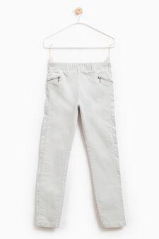 Pantaloni cotone stretch tinta unita, Grigio, hi-res