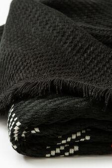Sciarpa tinta unita tricot con ricami, Nero/Rosso, hi-res