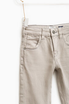 Slim-fit, stretch jeans with whiskering, Beige, hi-res
