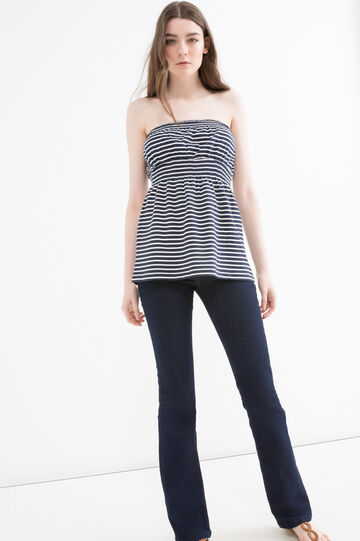 Patterned top in 100% cotton, Navy Blue, hi-res