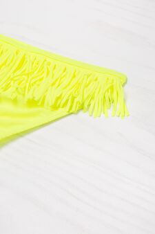 Stretch bikini bottom with fringe, Yellow, hi-res