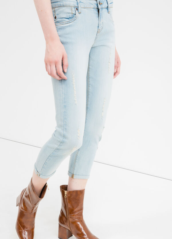 Cropped, skinny-fit stretch jeans with rips | OVS