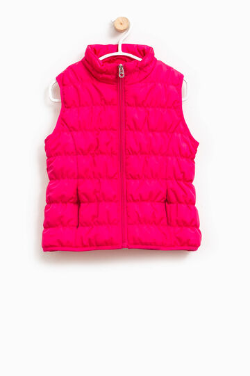 Quilted waistcoat with high collar, Fuchsia, hi-res
