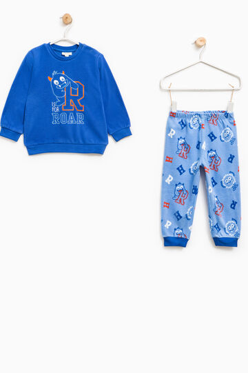 Fleece pyjamas with monster pattern, Blue/Light Blue, hi-res