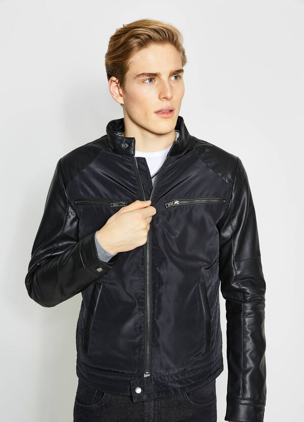 Solid colour jacket with shiny inserts | OVS