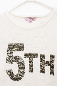 Printed cotton sweatshirt with raw edges, Off-white, hi-res