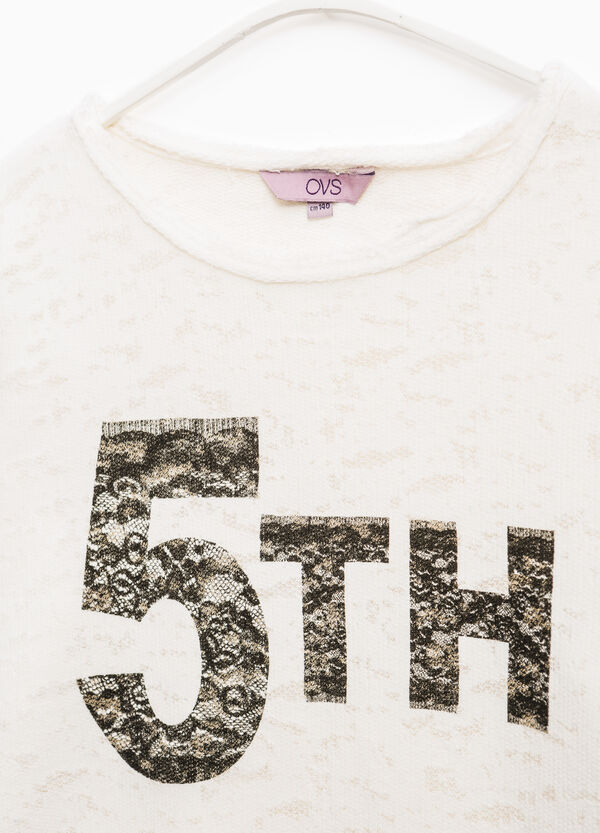 Printed cotton sweatshirt with raw edges | OVS