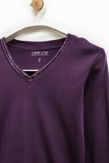 Smart Basic V-neck T-shirt, Purple, hi-res