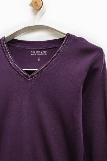 Camiseta Smart Basic con cuello de pico, Violeta, hi-res