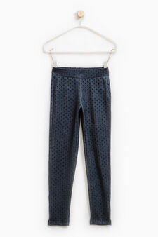 Stretch jeggings with all-over print, Indigo Blue, hi-res