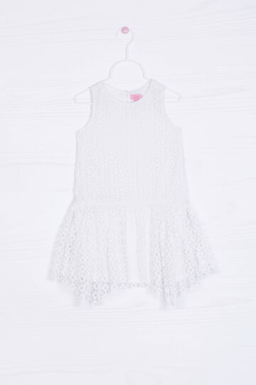 Solid colour openwork dress, Milky White, hi-res
