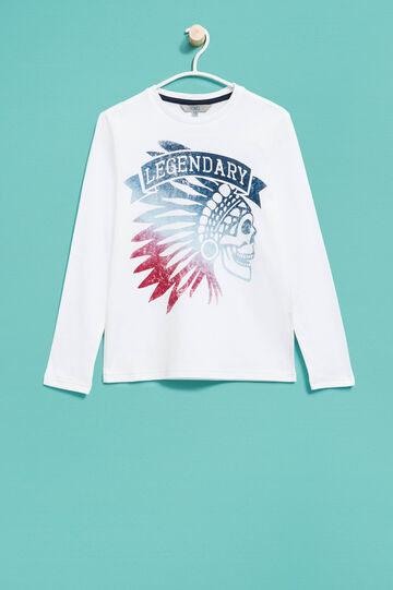 Printed long-sleeved T-shirt, White, hi-res